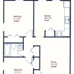 Floor plan of the 2-bedroom townhouse for rent at 466 Amblewood Way in State College, PA.