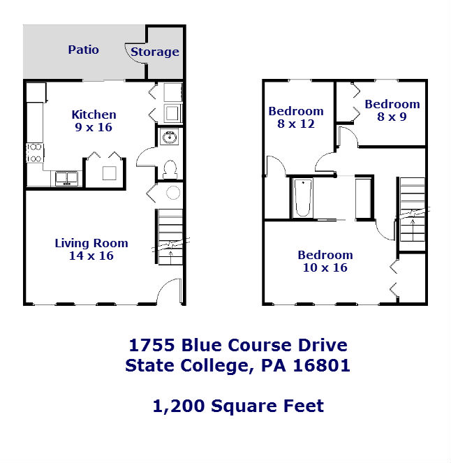 Floor plan of the 3-bedroom townhouse for rent at 1755 Blue Course Drive in State College, PA.