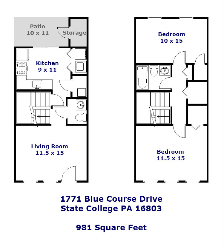 Floor plan of the 2-bedroom townhouse for rent at 1771 Blue Course Drive in State College, PA.