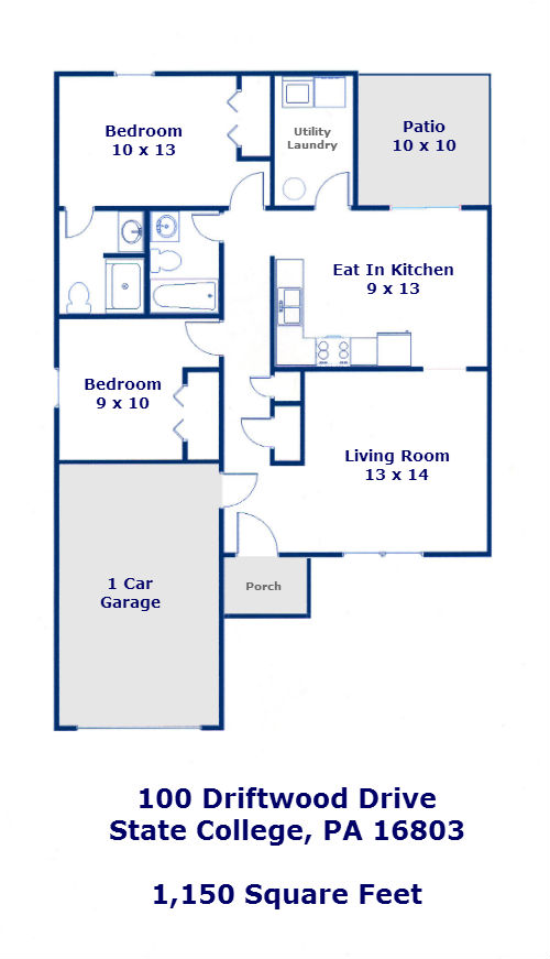 Floor plan of the 2-bedroom house for rent at 100 Driftwood Drive in State College PA