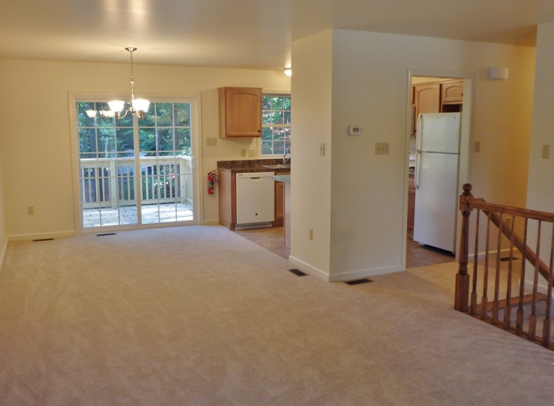 Living/dining/kitchen photo of the house for rent at 103 Driftwood Drive in State College, PA.
