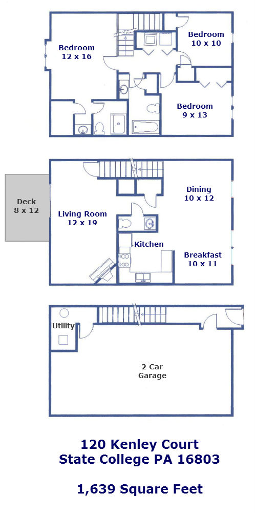 Floor plan for the 3 bedroom townhouse for rent at 120 Kenley Court, State College PA
