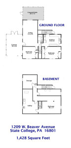 Floor plan for the 3 bedroom apartment for rent at 1209 W. Beaver Avenue in State College, PA