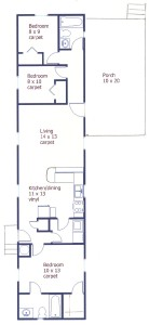 Floor plan for the 3 bedroom home for rent at 123 Driftwood Drive, State College PA