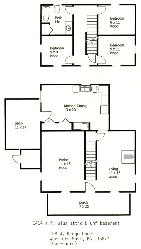 Floor plan of the 3-bedroom house for rent at 158 W. Ridge Lane in Warriors Mark, PA