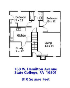 Floor plan for the 2-bedroom apartment at 160 W. Hamilton Avenue, State College PA
