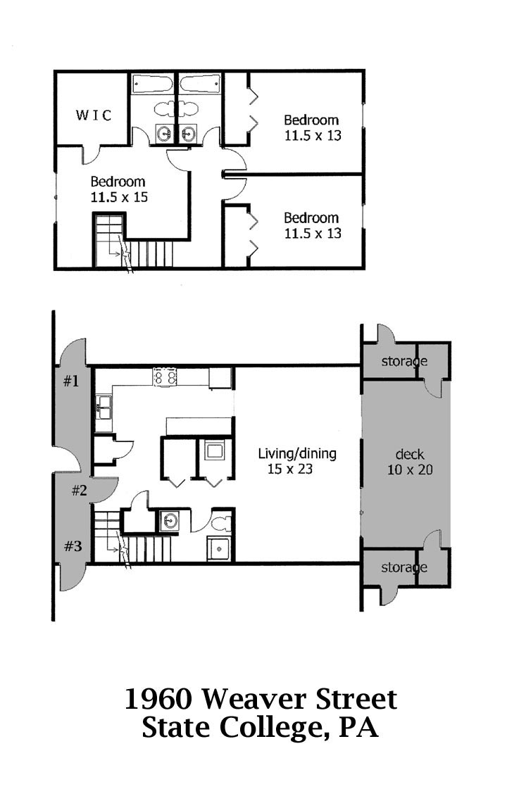 Floor plan for the 3 bedroom townhouses for rent at 1960 Weaver Street, State College PA