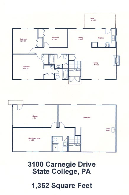 Floor plan of the 3-bedroom house for rent at 3100 Carnegie Drive in State College, PA