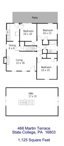 Floor plan of the 3-bedroom apartment for rent at 466 Martin Terrace, State College PA