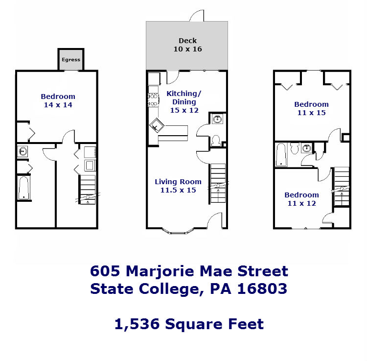 Floor Plan of the 3-bedroom townhouse for rent at 605 Marjorie Mae Street in State College, PA