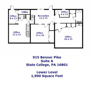 Floor Plan for the Office Space for Rent at 915-A Benner Pike, State College PA