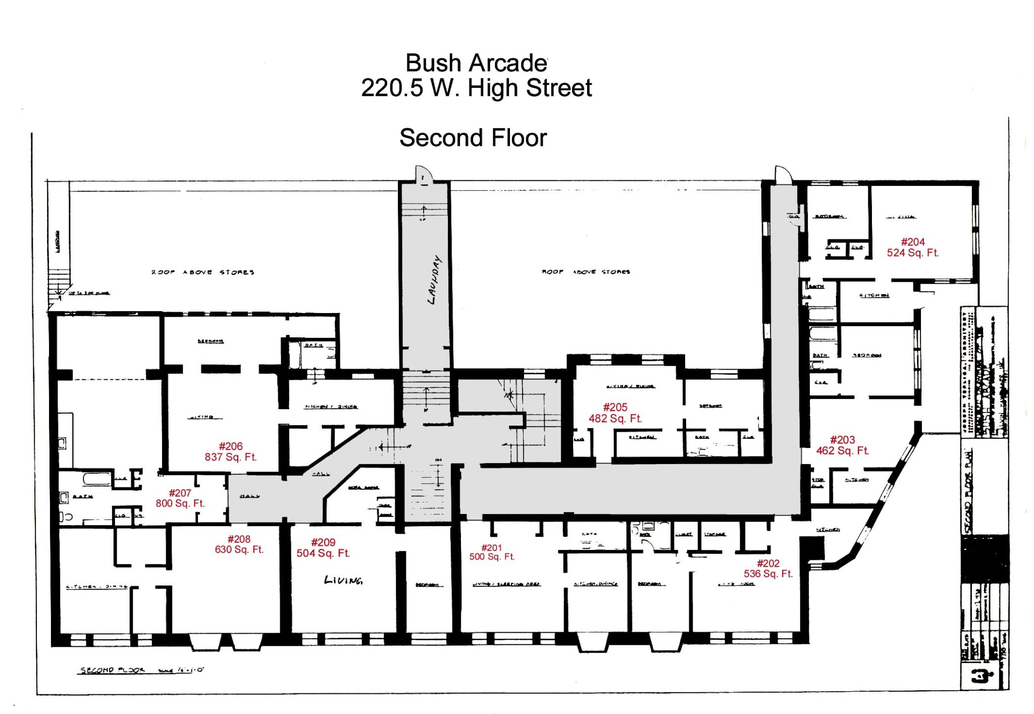 Floor Plans for apartment #201 to #209 at the Bush Arcade Building in Bellefonte PA
