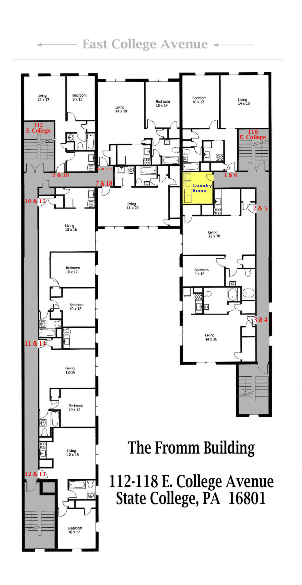 The Fromm Building | Student Apartments for Rent | Floor Plan