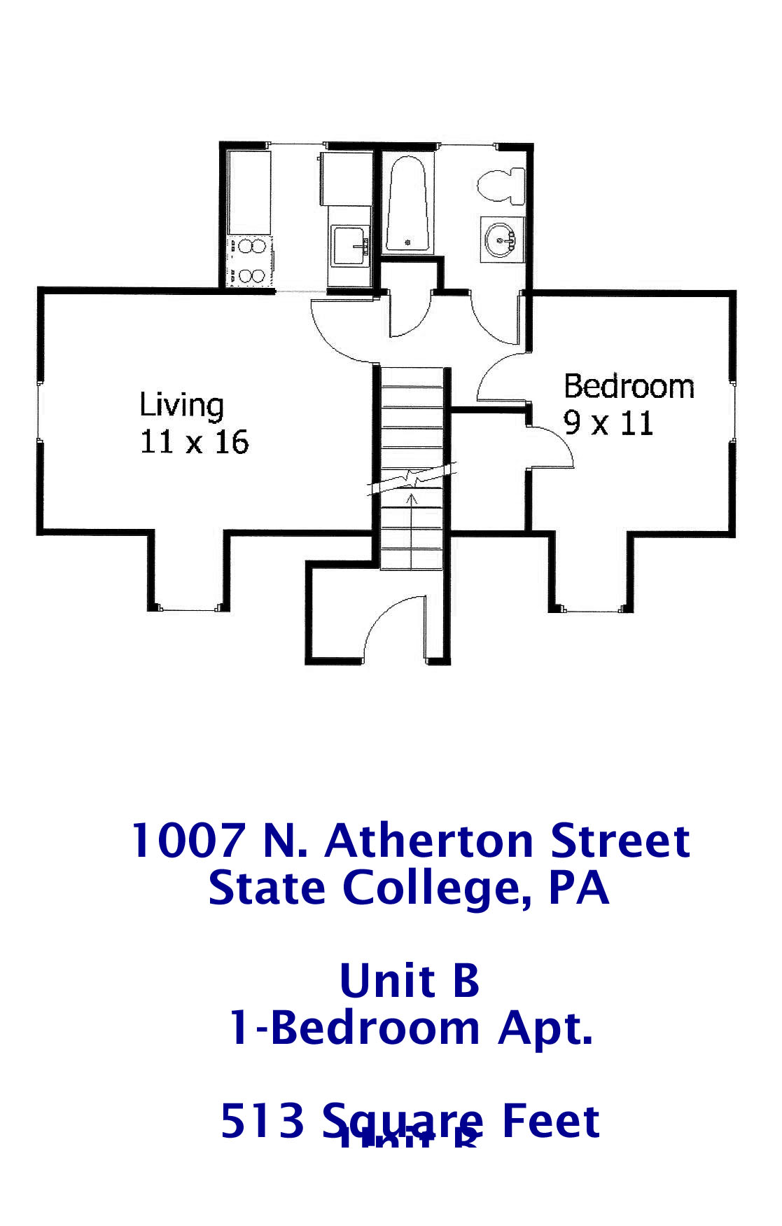 Floor plan of the 1-bedroom apartment for rent at 1007-B N. Atherton Street in State College, PA.