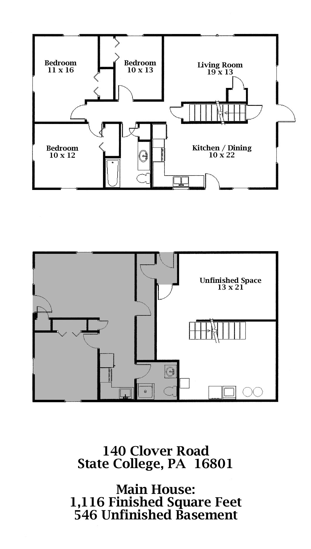 Floor plan for the 3-bedroom apartment for rent at 140 Clover Road, State College PA
