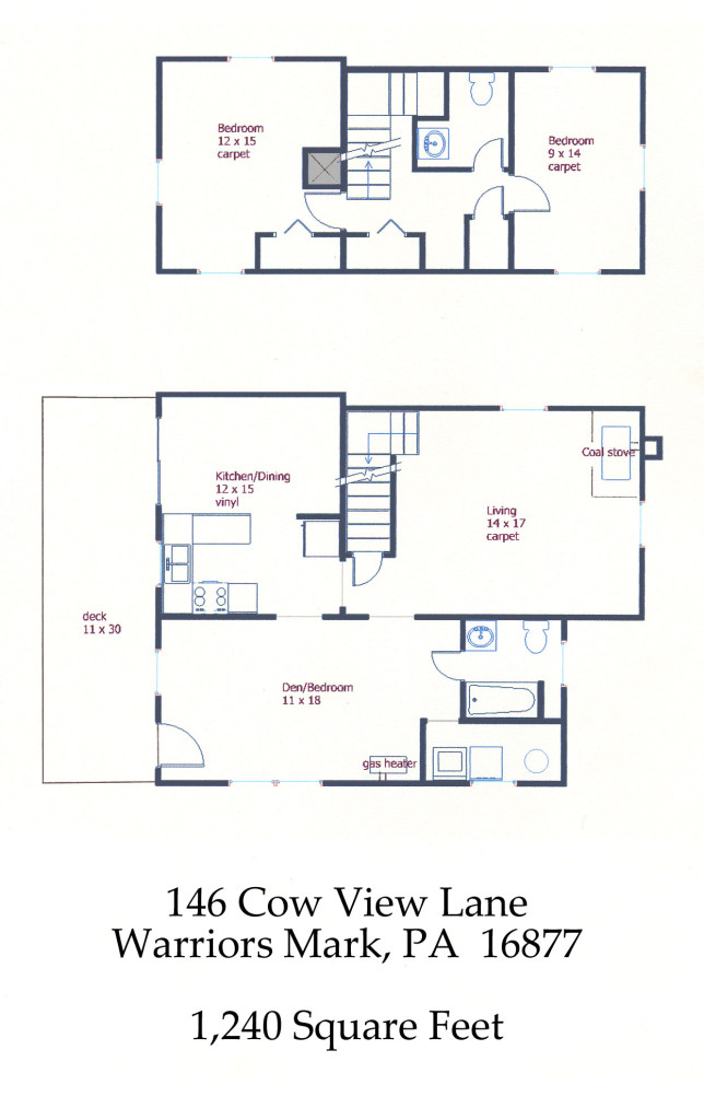 Floor plan of the 2-bedroom house for rent at 146 Cow View Lane, Warriors Mark PA.
