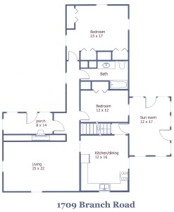 Floor plan of the 2-bedroom house for rent at 1709 E. Branch Road in State College, PA.