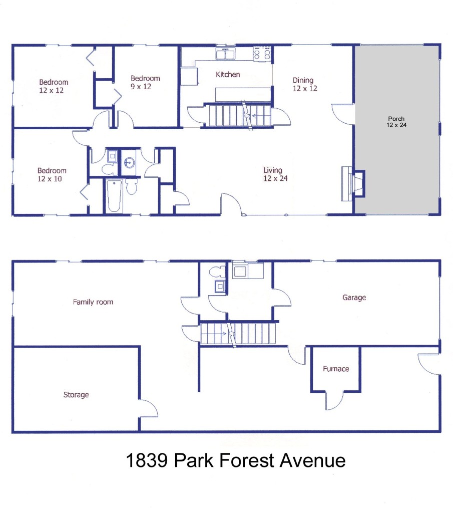 Floor plan of the 3-bedroom house for rent at 1839 Park Forest Avenue in State College, PA.