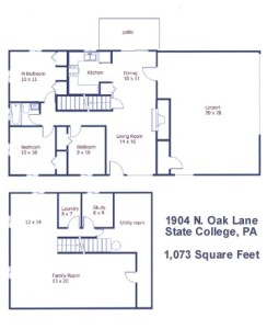 Floor plan of the 3-bedroom house for rent at 1904 N. Oak Lane, State College PA.
