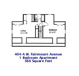 Floor plans of the 1-bedroom & 2-bedroom apartments for rent at 404 W. Fairmount Avenue, State College PA.