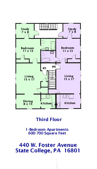 Floor plan of the 3rd Floor (Apts. #5 and #6) of 440 W. Foster Avenue, State College PA.