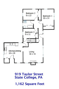 Floor plan for the 3-bedroom apartment for rent at 919 Taylor Street in State College PA