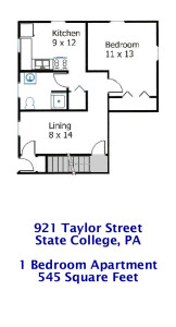 Floor plan of the 1-bedroom apartment at 921 Taylor Street in State College PA.
