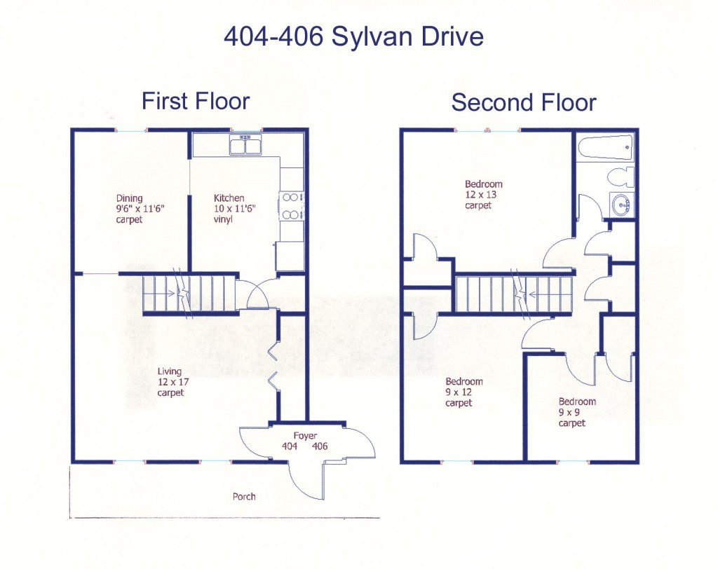 Floor plan of the 3-bedroom duplex for rent at 404-406 Sylvan Drive in State College, PA.