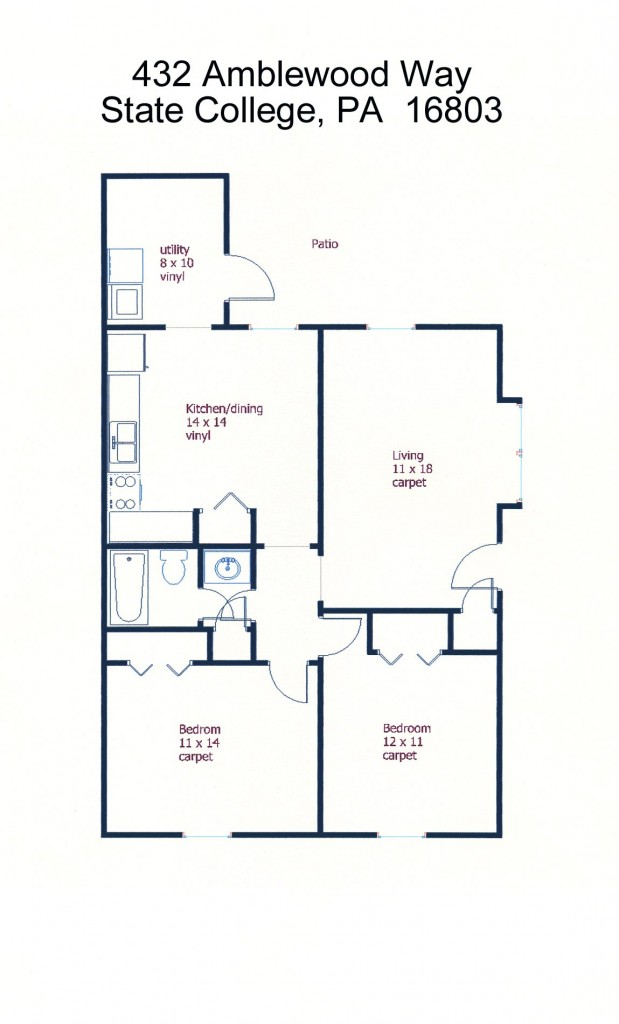 Floor plan of the 2-bedroom townhouse for rent at 432 Amblewood Way in State College, PA.