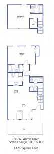 "Floor plan of the 2-bedroom ""Aaron Village"" townhouse for rent at 836 W. Aaron Drive in State College, PA."