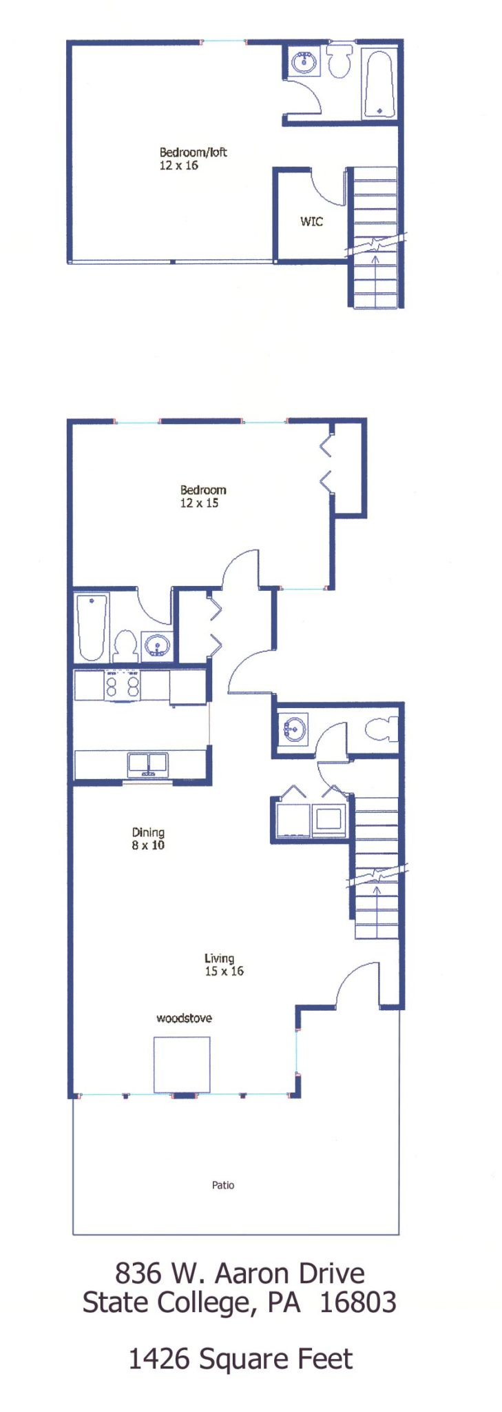 """Floor plan of the 2-bedroom """"Aaron Village"""" townhouse for rent at 836 W. Aaron Drive in State College, PA."""
