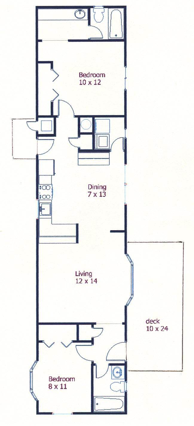 Floor plan of the 2-bedroom house for rent at 104 Driftwood Drive in State College, PA.
