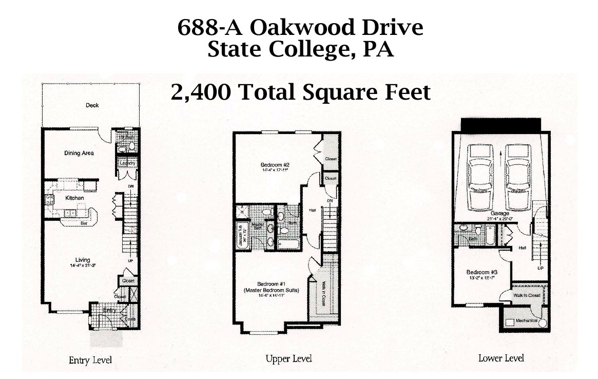 Floor plan of the 3-bedroom townhouse for rent at 688-A Oakwood Avenue in State College, PA.