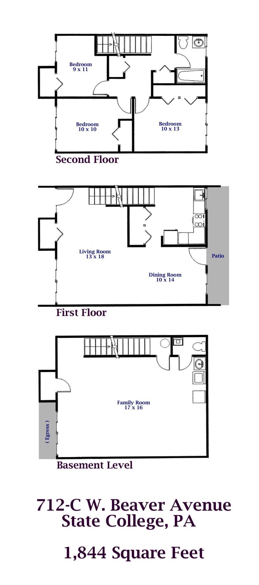 712 c w beaver avenue state college pa park forest enterprises floor plan of the 3 bedroom townhouse for rent at 712 c w