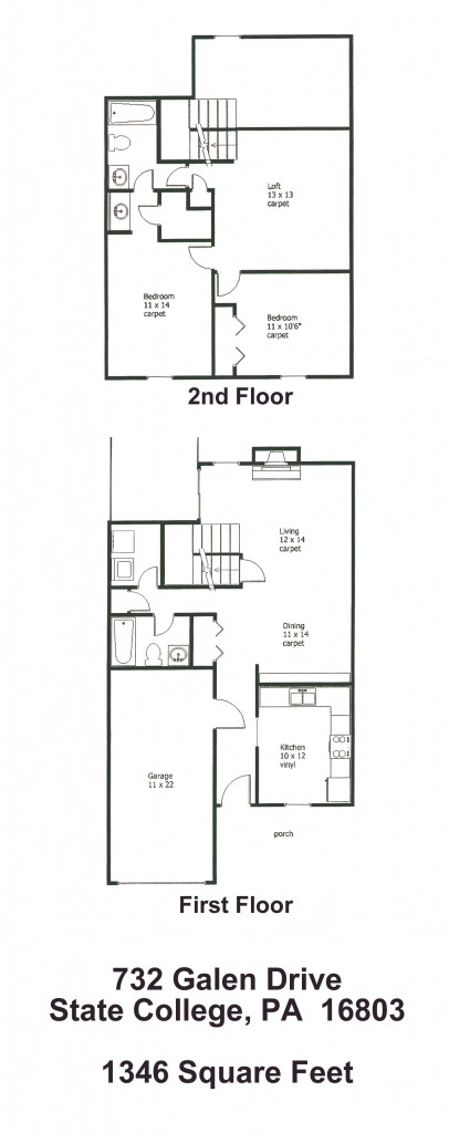 Floor plan of the 3-bedroom townhouse for rent at 732 Galen Drive in State College, PA.