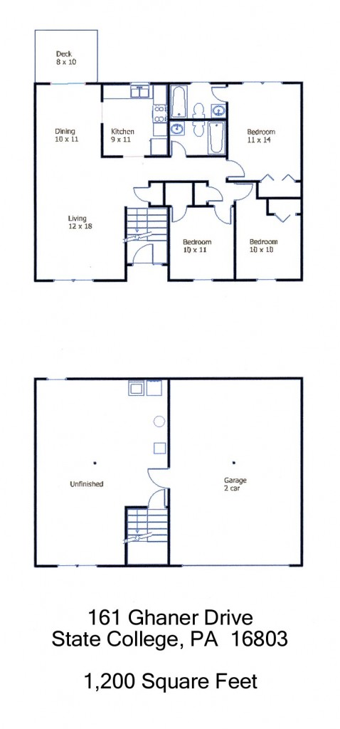 Floor plan of the 3-bedroom house for rent at 161 Ghaner Drive in State College, PA.