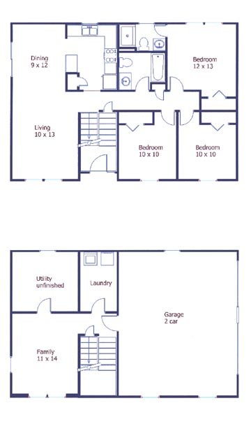 Floor plan of the 3-bedroom house for rent at 3104 Carnegie Drive in State College, PA.