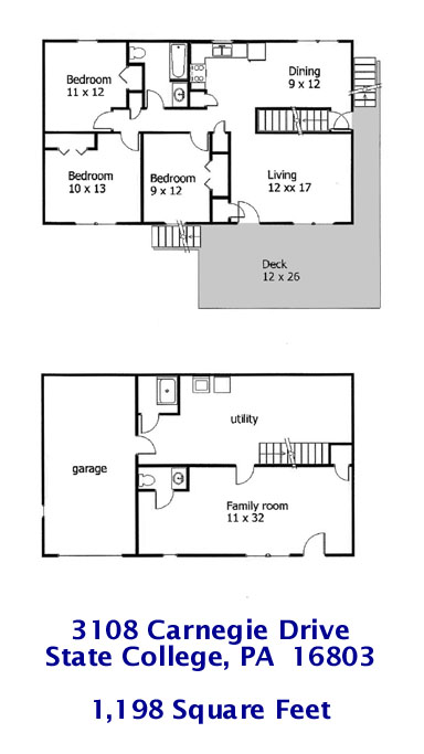 Floor plan of the 3-bedroom house for rent at 3108 Carnegie Drive in State College, PA.
