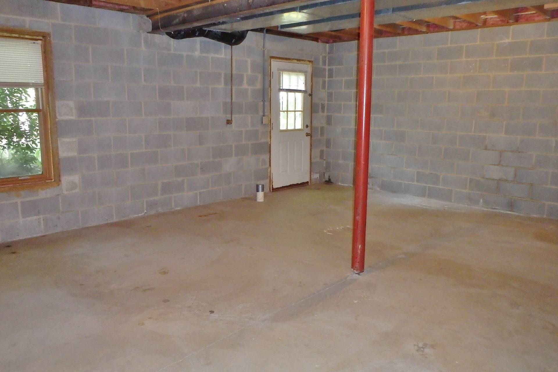 Unfinished basement at 317 Ghaner Drive.