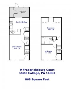 Floor plan of the 2-bedroom townhouse for rent at 9 Fredericksburg Court in State College, PA