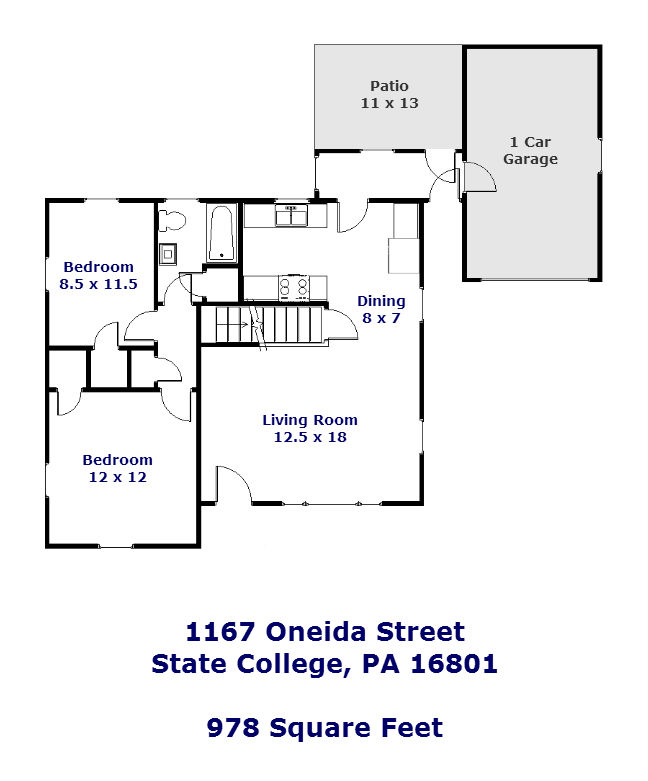 Floor plan of the 2-bedroom house for rent at 1167 Oneida Street in State College.
