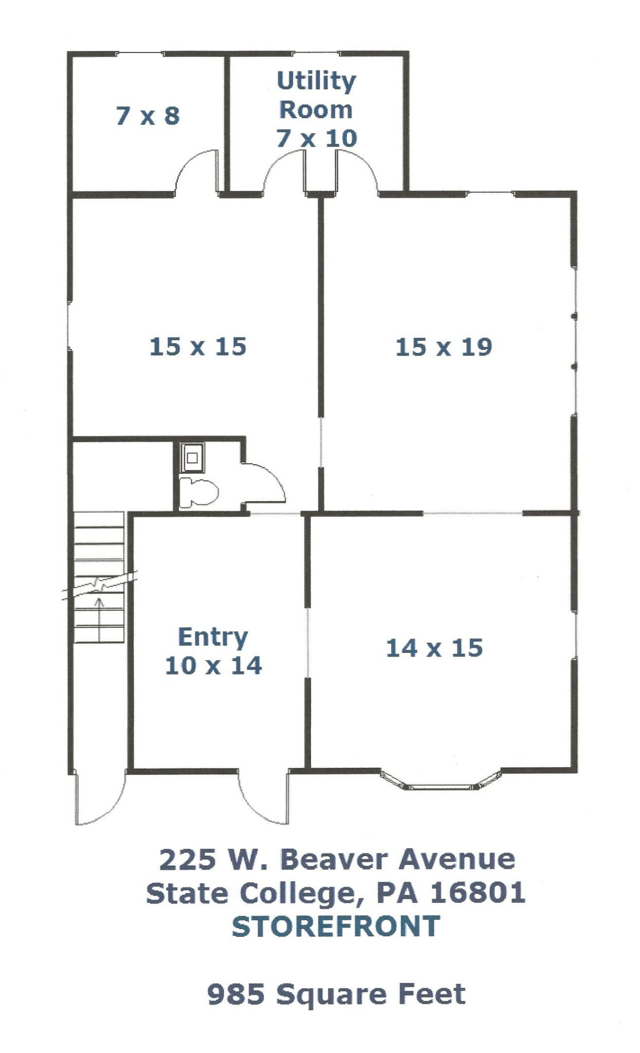 225 W. Beaver Avenue Commercial Space Floor Plan