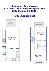 Floor plans of the 2-bedroom townhouses for rent at 716, 718, 724 & 728 Southgate Drive.