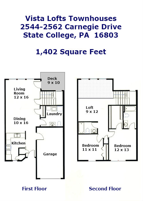 Floor plan for the professional 2-bedroom townhouses for rent at Vista Lofts in State College, PA.