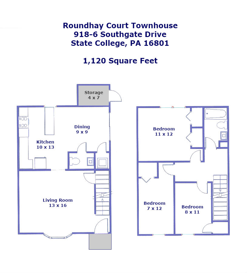 Floor plan of the 3-bedroom townhouse for rent at 916-5 Southgate Drive in State College, PA.