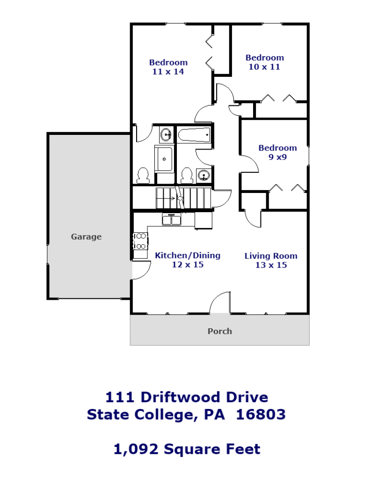 Floor plan of the 3-bedroom ranch house for rent at 111 Driftwood Drive in State College, PA.