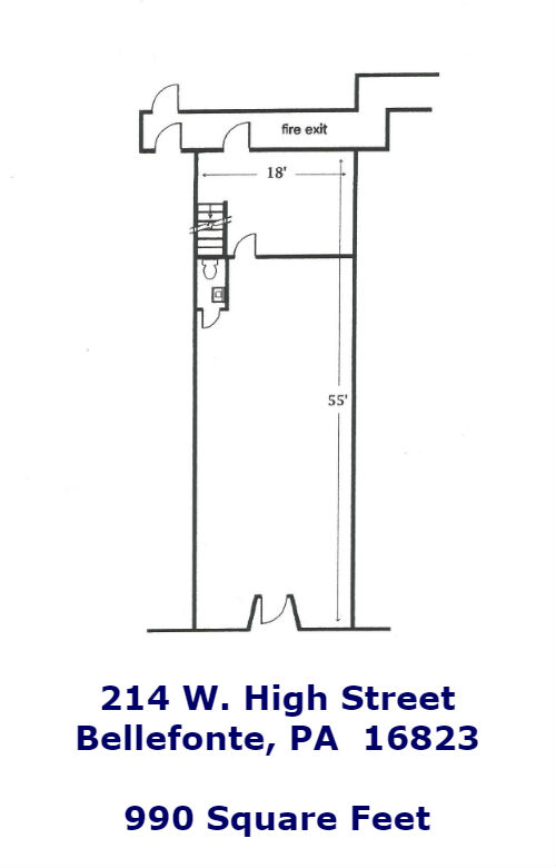 Floor plan of the commercial storefront for rent at 214 W. High Street, Bellefonte.