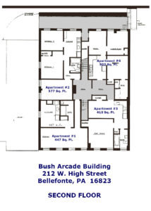 Floor Plans for apartment #1-4 at the Bush Arcade Building in Bellefonte PA.