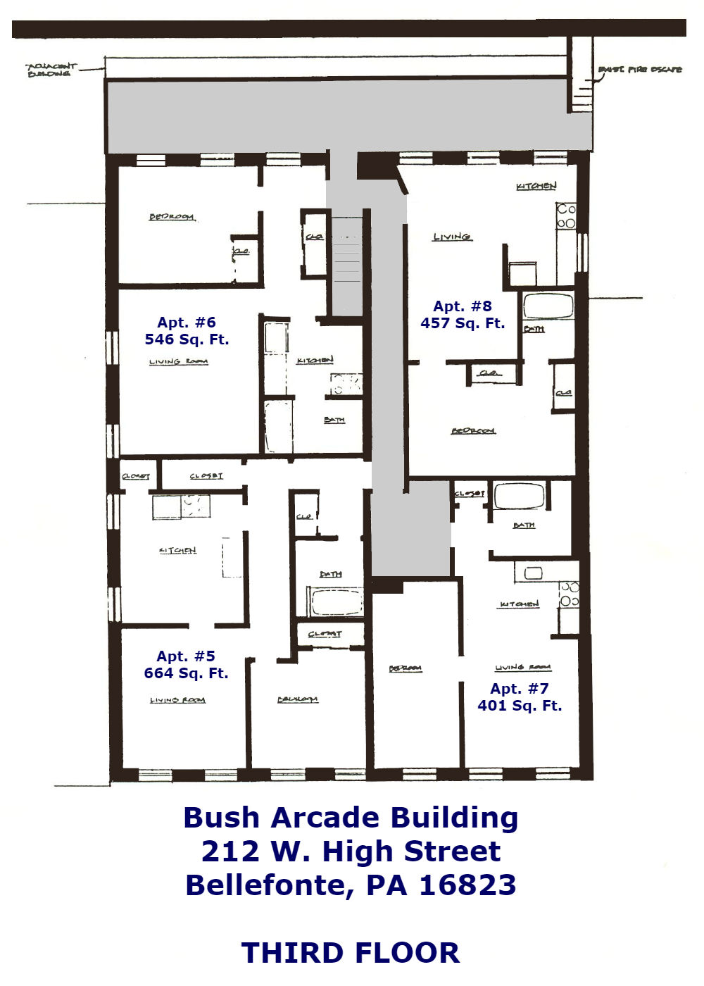 Floor Plans for apartment #5-8 at the Bush Arcade Building in Bellefonte PA.