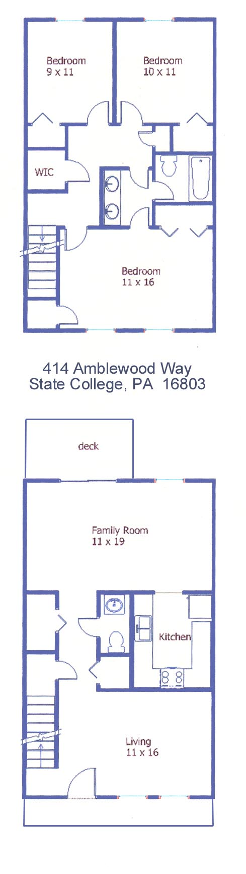 Floor plan of the 3 bedroom townhouse for rent at 414 Amblewood Way in State College, PA.
